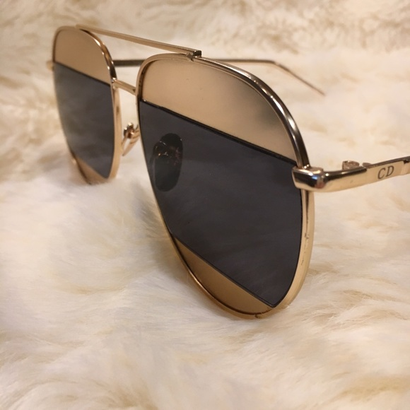 58aa8d27a3fe christian dior Accessories - Christian Dior Split 1 Aviator sunglasses in  gold